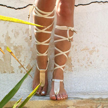 6450d813ee2 Summer Roman Sandals for Women Knee bead Gladiator Sandals Summer Shoes  Handmade Gold Beach T-strap Lace up Sandals Casual Shoes
