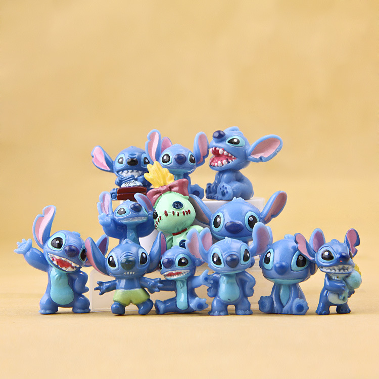 Kawaii Stitch Anime Dolls Toys Stich Q Scrump Action Figures Juguetes Mini Decor Landscape Lilo Doll Collection Toys Best Gifts
