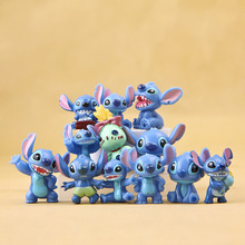 12pcs/lot Kawaii Stitch Doll Toy Stich Q Scrump Action Figures Juguetes Mini Decor Landscape Lilo Collection Best Gifts