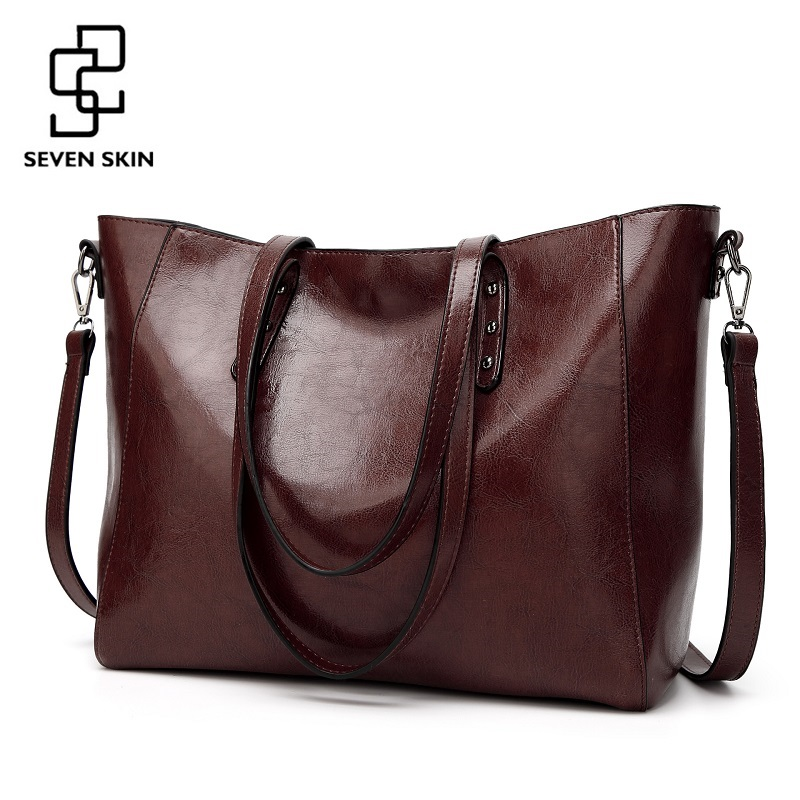 SEVEN SKIN Brand Luxury Messenger Bag Fashion Design High Quality PU Leather Shoulder Bags Large Tote Bags Top-Handle Handbags fashion women handbags famous brand luxury designer shoulder bag ladies large tote high quality black pu leather top handle bags