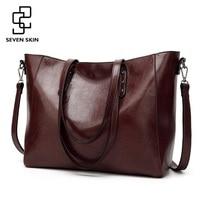 SEVEN SKIN Brand Luxury Messenger Bag Fashion Design High Quality PU Leather Shoulder Bags Large Tote Bags Top Handle Handbags