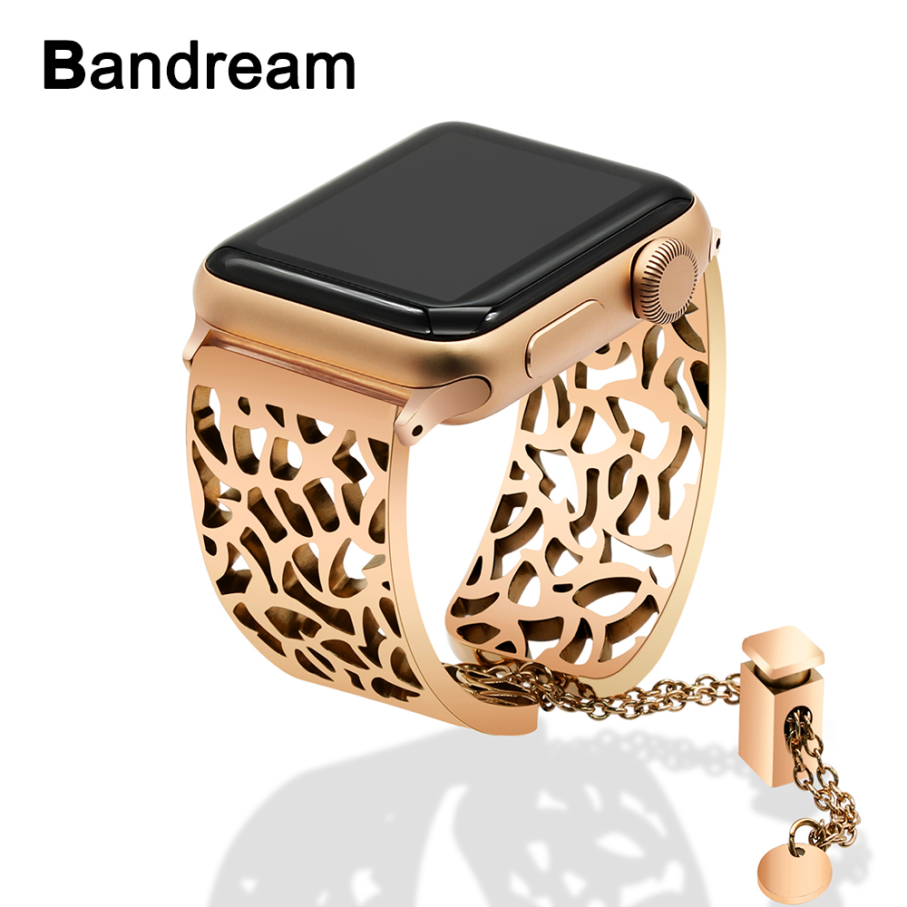 Stainless Steel Watchband Jewelry Bangle for iWatch Apple Watch 38mm 40mm 42mm 44mm Series 1 2 3 4 5 Band Women Strap Bracelet