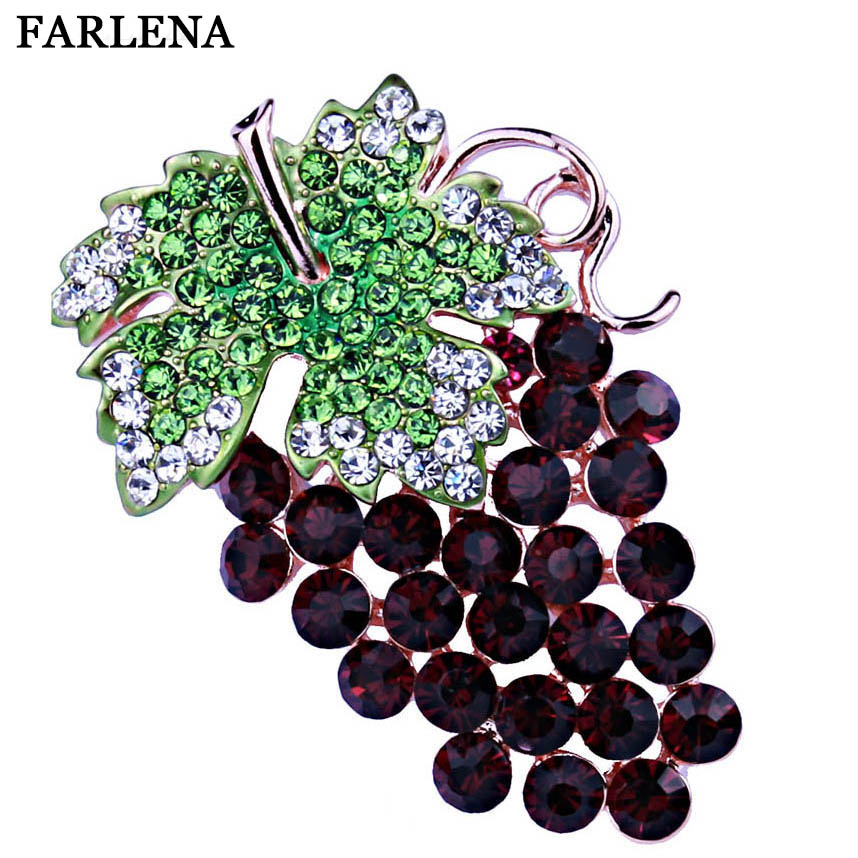 Unique design purple grapes scarf brooches pins with crystal rhinestones Fashion brooch for women gift