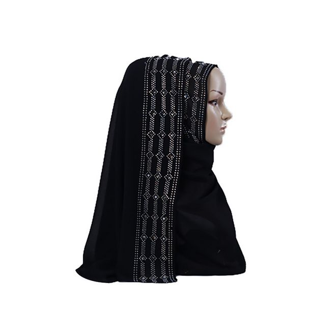 New 2019 Spring Summer Bubble Chiffon Muslim Hijab Scarf Women Plain Turban Shawl Colorful Rhinestone Long Turkish Head Scarf in Islamic Clothing from Novelty Special Use