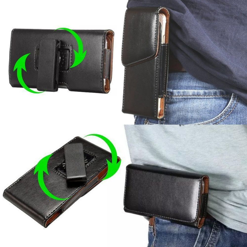 Rotación clip de cinturón holster funda de cuero para cubot p12 5 pulgadas unive