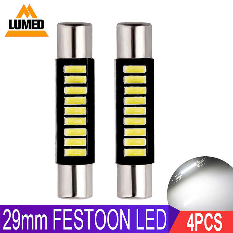 4x 29mm Festoon LED C5W Car 9 leds 4014 Auto Interior For Sun Visor Vanity Mirror Lights DC 12V