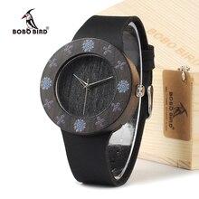 BOBOBIRD D25 Madera de Ébano Negro de Las Mujeres Viste el Reloj Con La Impresión flores Para Las Señoras Reloj Con Reloj de Cuarzo del Anolog Con Git caja