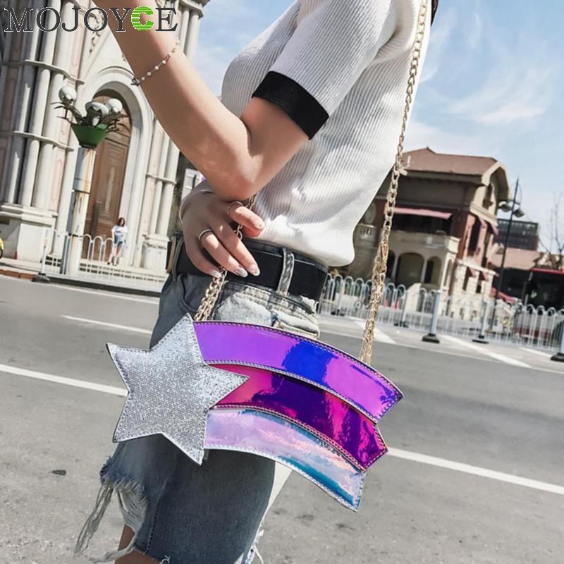 купить Cute Fashion Unique Personality Style Mini Star Rainbow Shape Laser PU Shoulder Bag Handbag Messenger Bag Girl Casual Purse по цене 792.17 рублей