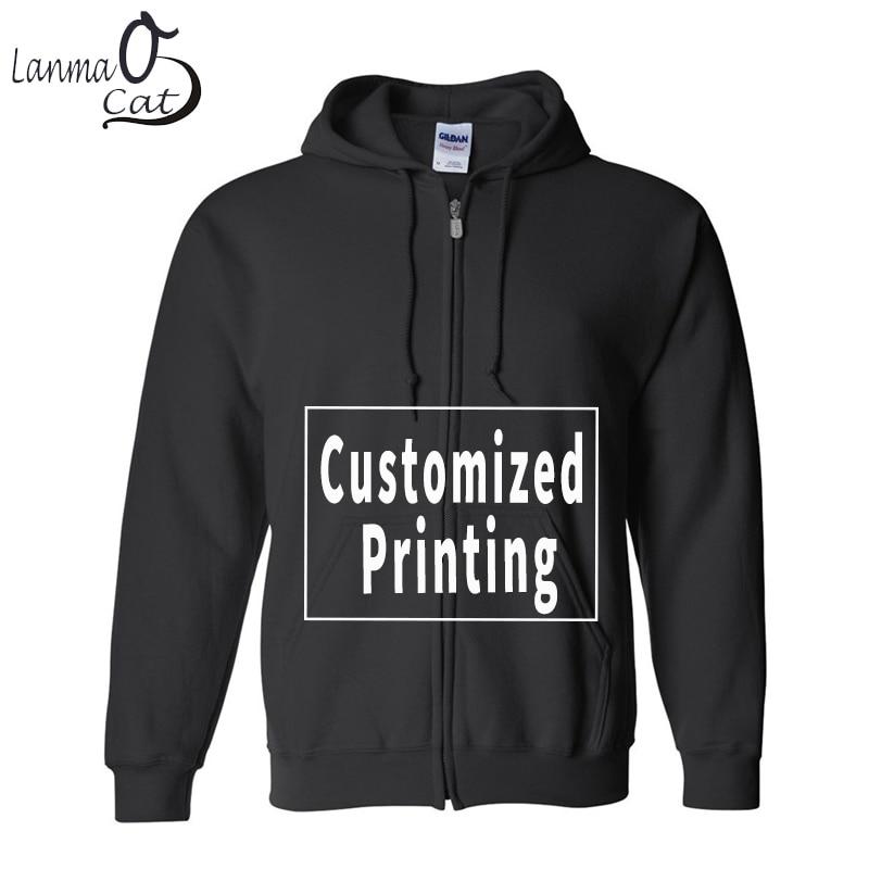 Lanmaocat パーカーシャツ綿の男性の女性プラスサイズのパーカーシャツカスタム印刷ロゴ冬の秋のスウェット送料無料  グループ上の メンズ服 からの パーカー & スウェット の中 1