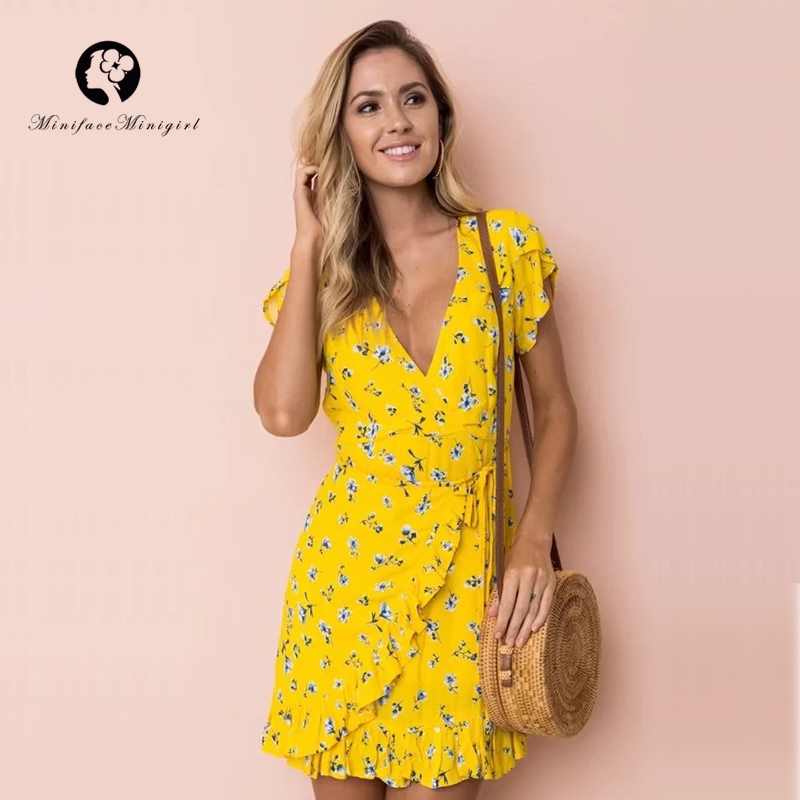 Yellow Floral Print Sweet Mini Dress Deep V Neck a Line Summer Women Ruffle Casual Party Dresses Vestidos