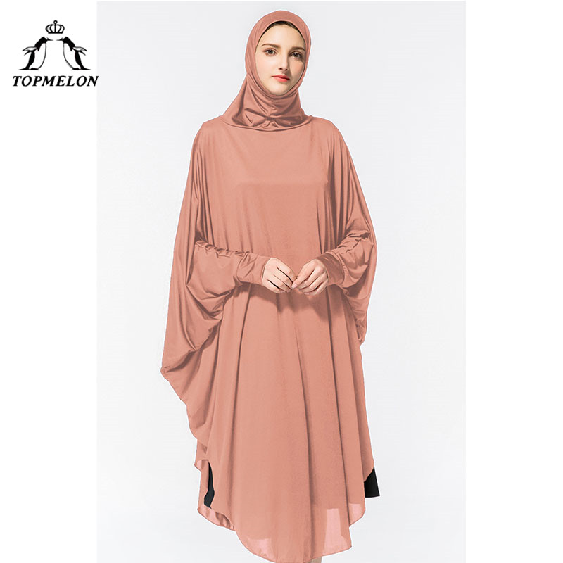 TOPMELON Worship Prayer Garment Abaya Hijab Dress Silky Long Solid Robes For Women Islamic Turkish Dress Headscarf 2018