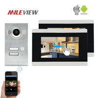 Free Shipping Two Apartments 720P HD IP 7 Touch Screen LCD Video Intercom Door Phone Record