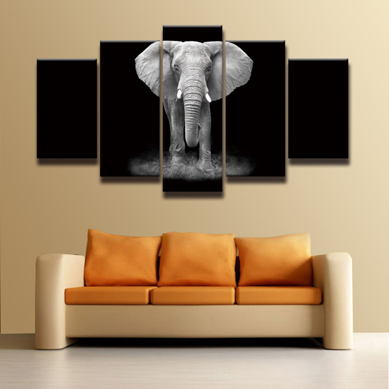 HD Printed African elephant picture painting canvas art 5 panels animal landscape wall decor for room home Print poster