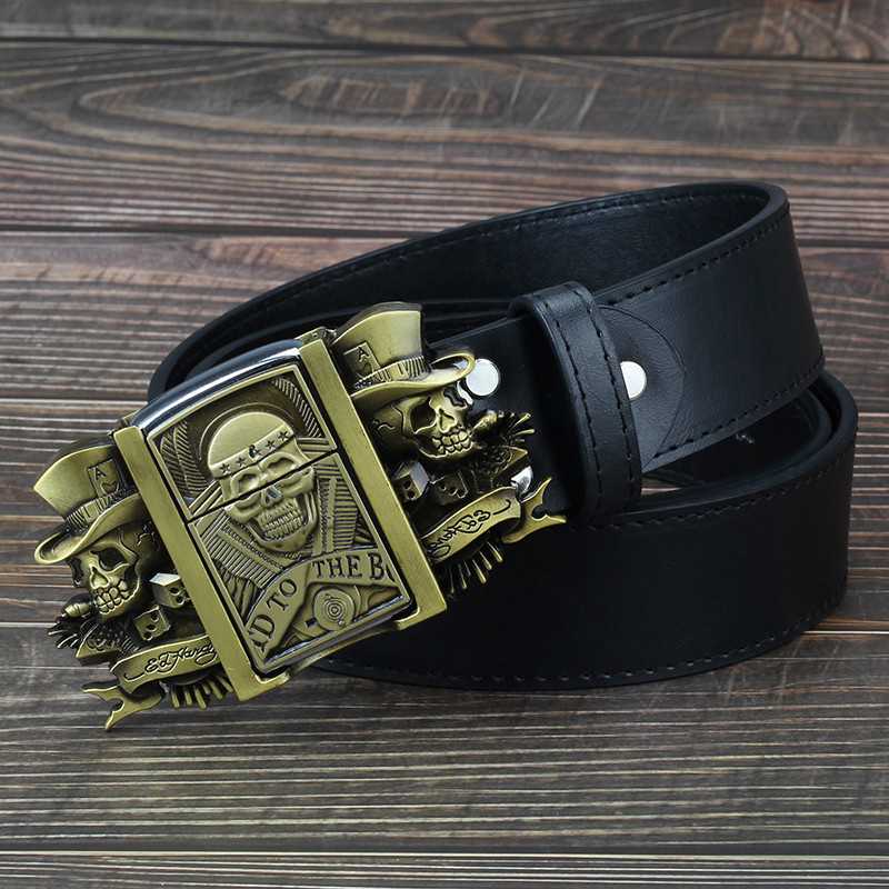 Golden skull Novelty cigarette lighter   belt   men's leather   belt   lighter buckle metal lighters Kerosene lighter   belt   for men gift