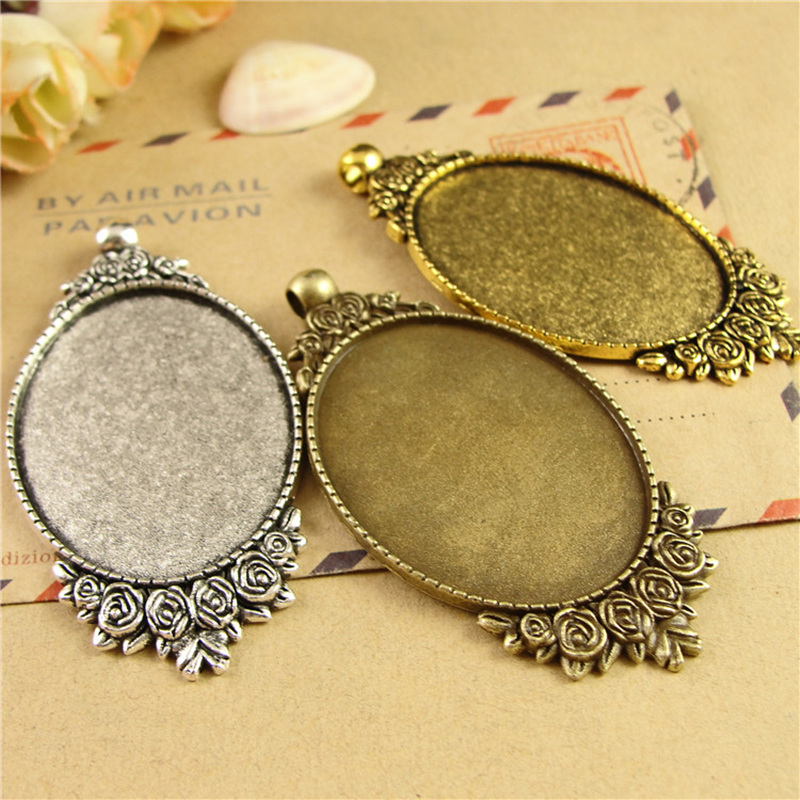 20 pieces lot Fit 30 40mm Alloy Antique Bronze Antique Silver Blank Tray Pendant Base Cameo