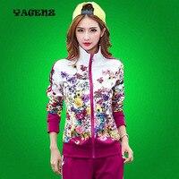 Autumn Lady Sportswear 2 Pieces Set Women Printed Coat Pant Plus Size L 4XL Long Sleeve