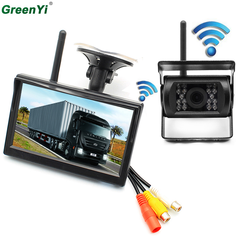 GreenYi 2.4G Wireless Backup Camera And Rearview Mirror Monitor Kit IR Night Vision RearView Back up Camera + 5 inch Car Monitor 4 3 lcd car rearview mirror monitor 2 4ghz wireless camera kit w 7 ir led black
