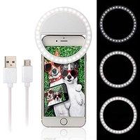 Portable Clip On Selfie LED Ring Light Lamp Fill In Light Night Lighting For IPhone 7
