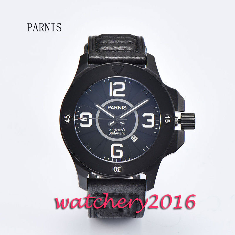 New 47mm Parnis black dial PVD case white markers 21 jewels miyota Automatic movement Mens WatchNew 47mm Parnis black dial PVD case white markers 21 jewels miyota Automatic movement Mens Watch