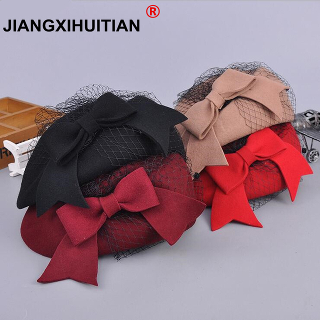 817a66237850d 2018 Elegant Winter 100% Australian Wool Felt Fedora Red Black Wedding Hats  Women Female Bow Berets Caps Pillbox Hat Chapeau