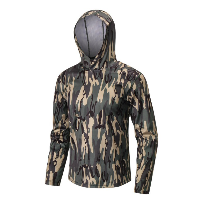 Men Sports Jacket Summer Sports Pullover Print Hooded Solid Color Long Sleeve Casual Loose Fitness Tops in Running Jackets from Sports Entertainment