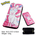 2017 Anime Pokemon Vaporeon Jolteon With Zipper Cartoon Logo PU Leather Long Wallet Money Bag Burse Notecase Purse