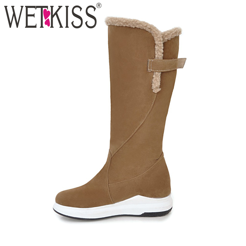 WETKISS Big Size 34-43 Winter Boots Women Fur Shoes Woman Mid Calf Buckle Platform Footwear Snow Boots Wedges Height Increasing zippers double buckle platform mid calf boots