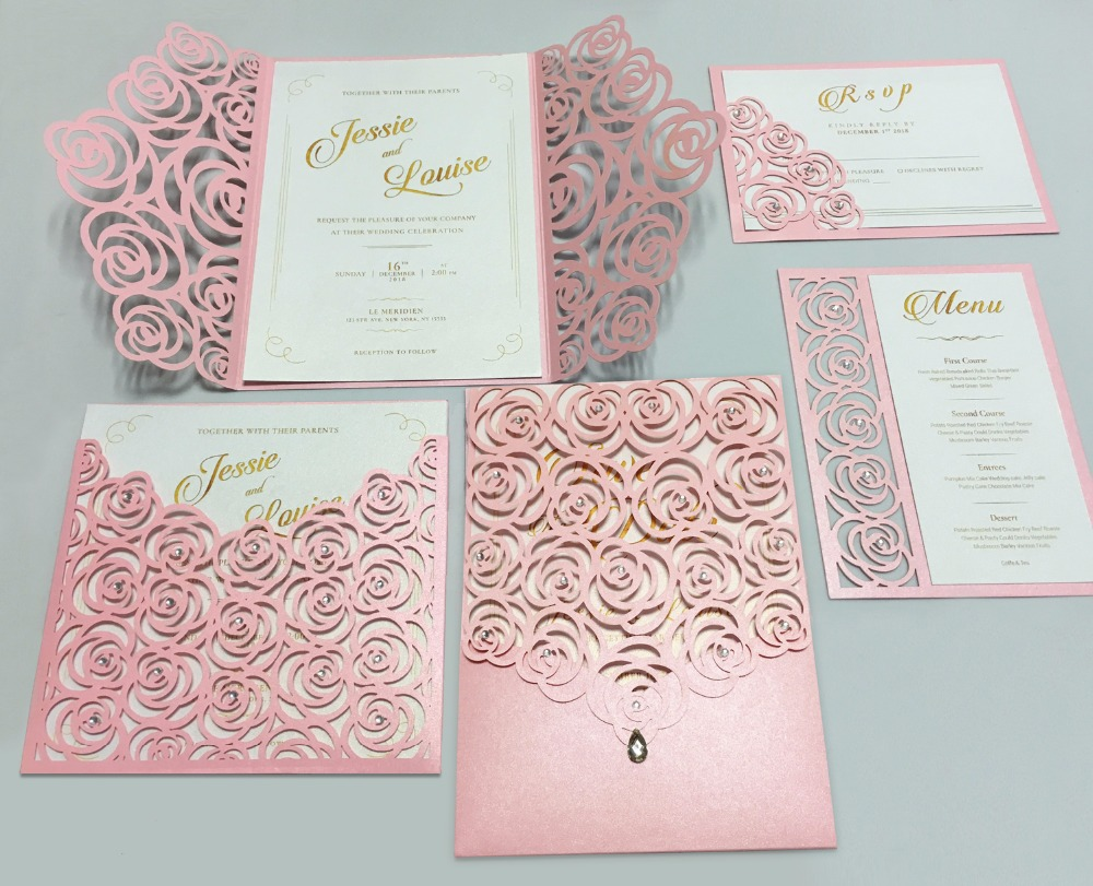 US $3.3 Pink Rose Wedding Invitations Romantic Invitation Cards Gold  Printing Wedding Invite Cards Set of 53 pcsCards & Invitations -  AliExpress