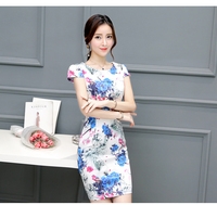 2017 Womens Elegant Vintage Flower Floral Printed Plus Size Mulberry Silk Wedding Evening Party Mini Dress