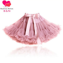 Buenos Ninos 2016 New Color Rose Pink High Quality 1-18 Years Girls Pettiskirt Fluffy Chiffon Princess Dance Party Tutu Skirt 9