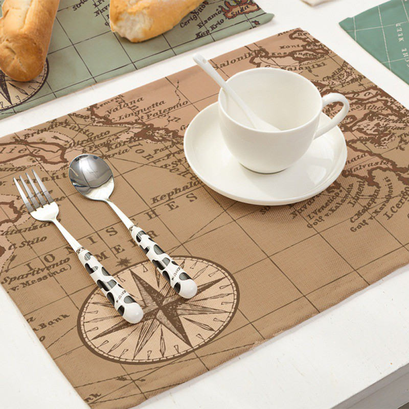Cotton Linen Napkin Table Cloth Placemat Mat Pads World Map Printing Home Restaurant Wed ...