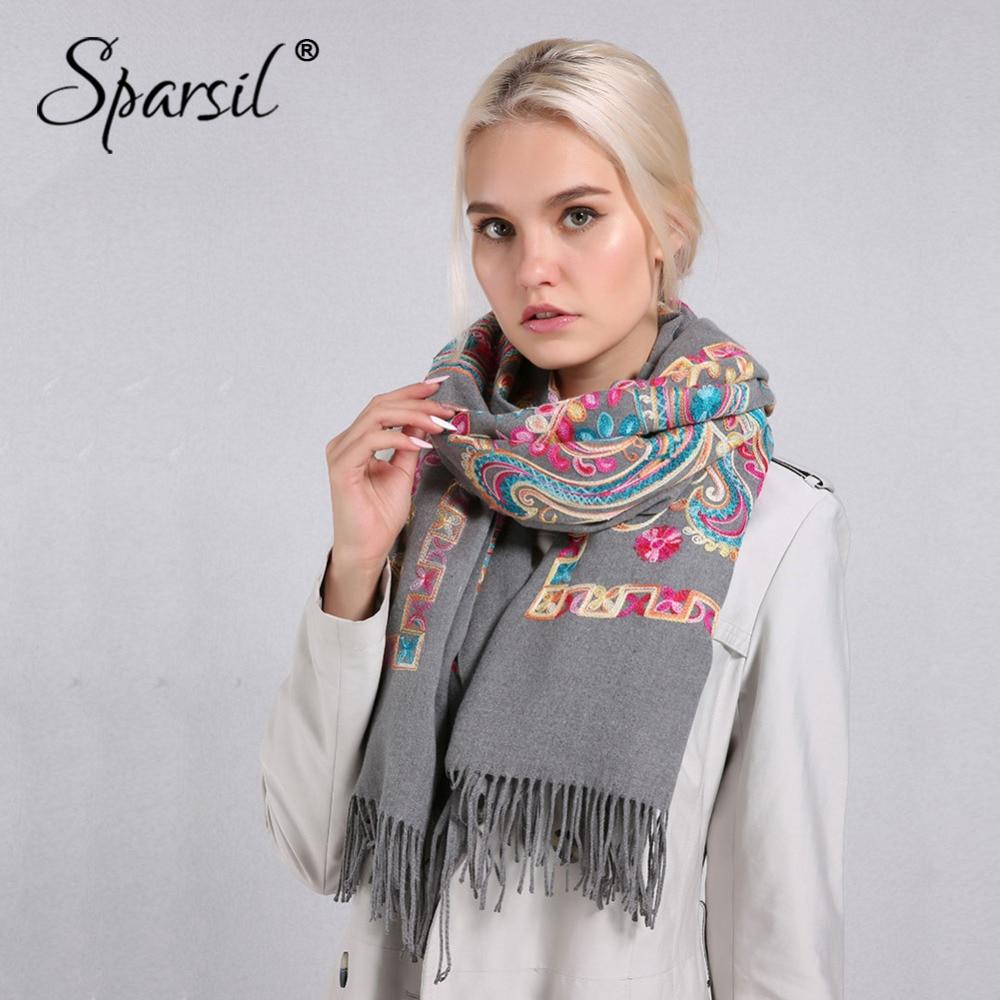 Sparsil Women Cashmere Tassel   Scarves   Floral Flowers Embroidery Pashmina 200*70 cm Long Soft   Wraps   Warm Female Winter Shawls