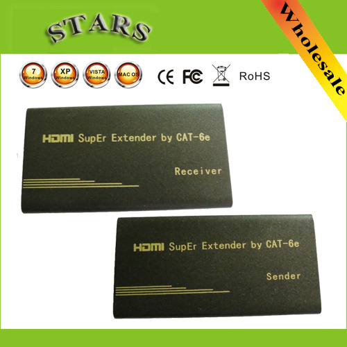 60M HD 1080P Super Wireless HDMI Video Sender Extender Transmitter Receiver Over Single Network Cat5E/Cat6E,Free Shipping