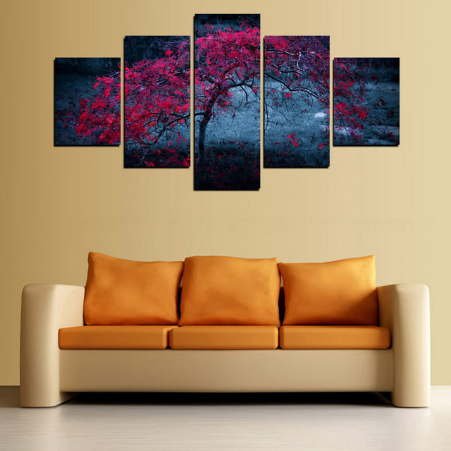 Online Shop 5 Pieces Canvas Print Red Leaves Tree Painting On Canvas ...