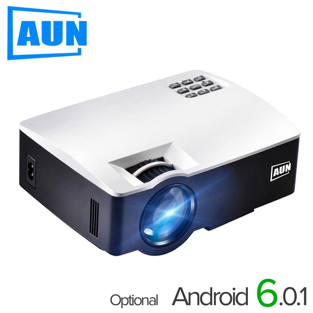AUN LED Proyector AKEY1/Plus pour Home cinéma, 1800 Lumens, prend en charge le Mini projecteur Full HD (Android 6 en option prend en charge la vidéo 4 K)