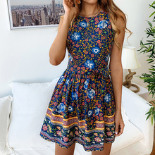 купить DeRuiLaDy 2019 Summer Floral Print Mini Dress Women O Neck Sleeveless Zipper Dresses Vintage Ladies Casual Dress Vestidos по цене 846.05 рублей