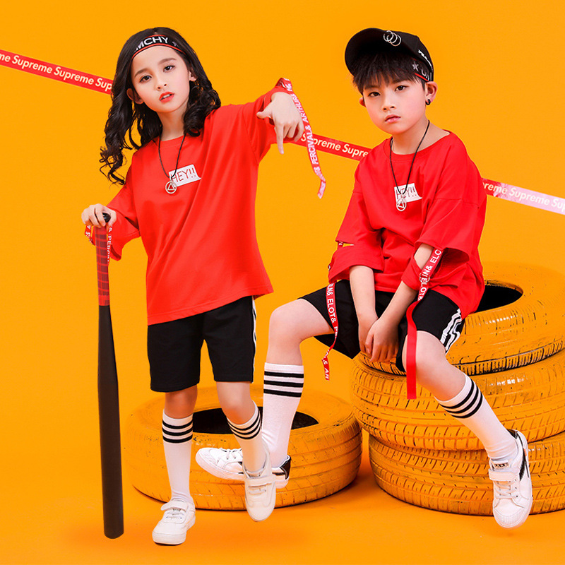 Red Girls Boys Jazz Ballroom Dance Clothes For Kids Hip Hop Dancing Costumes T Shirt Tops Short Jogger Pants Fashion Show Wear