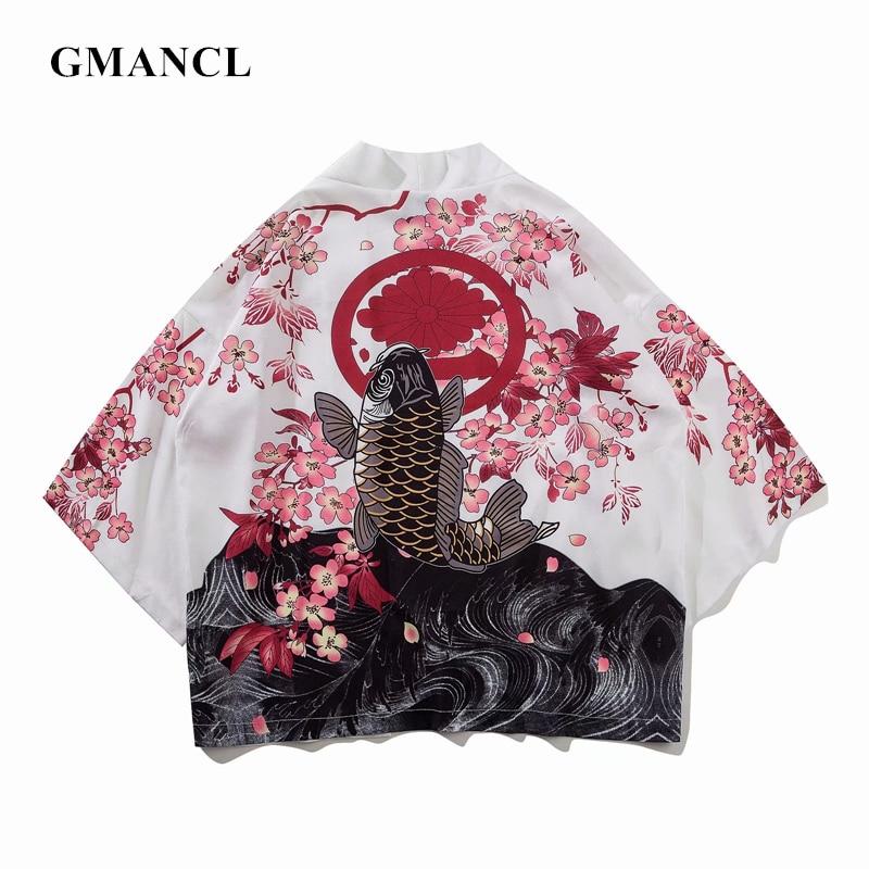 Summer Mens Kimono Shirt Japanese Koi Kimono Cardigan Jackets Patterns Open Stitch Fish Crane Print Harajuku Clothing Coats