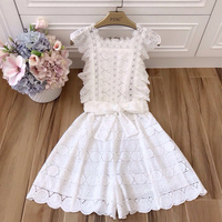 [Maggie] sweet water soluble lace bow belt wide leg micro horn lotus leaf sleeve embroidered jumpsuit 0719