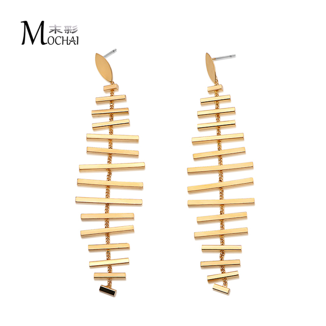 Vintage Long Earrings Gold Color Tel High Quality Fish Bone Earring Fashion Jewelry For Women Best