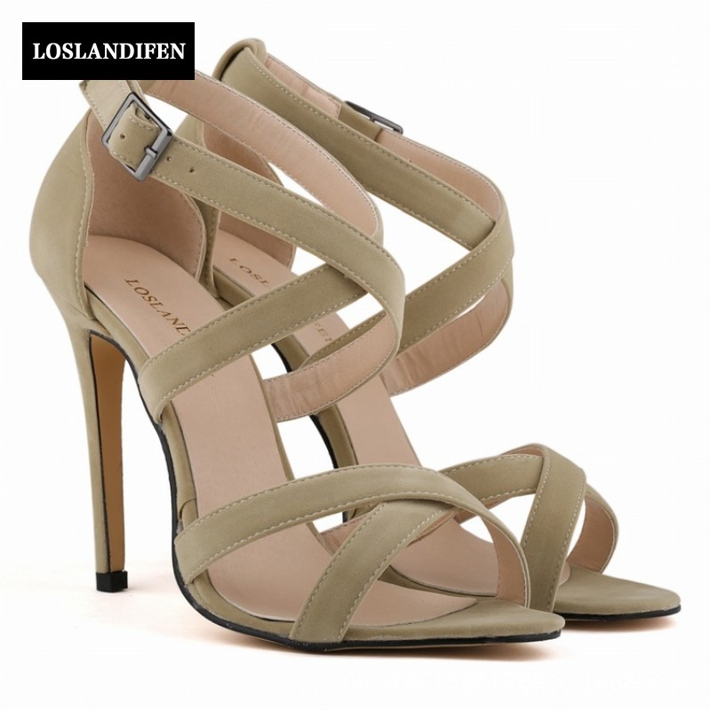 New Korean Sweet Sexy Stiletto Women Shoes Open Toe High Heels Faux Suede Ankle Strap Sandals For Female Footwear Zapatos Mujer lucyever women vintage square toe flat summer sandals flock buckle casual shoes comfort ankle strap women footwear mujer zapatos