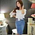 Original 2016 Brand Saia Summer Cotton Fashion Zipper Slim High Waist Plus Size Ladies Elegant Knee Length Denim Skirt Wholesale