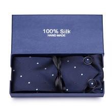 Gift box Custom Personalized Mens Ties Hankie Cufflinks Sets Neckwear 7cm Dot Cravats Striped Necktie for Men Wedding Party