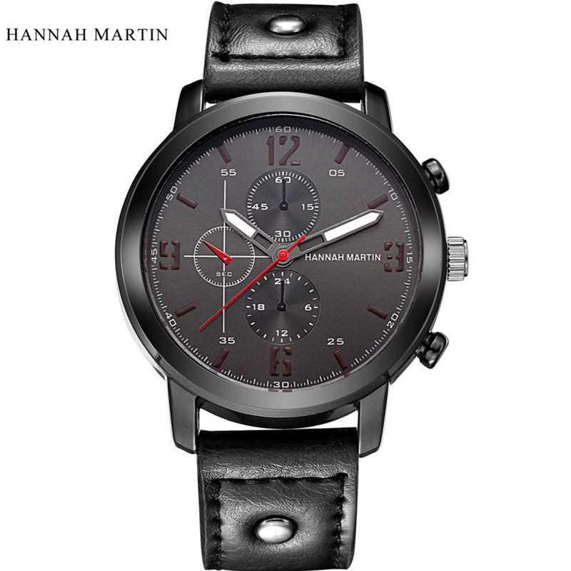 2017 Fashion Hannah Martin Men Date Stainless Steel Leather Analog Quartz Sport Wrist Wa ...
