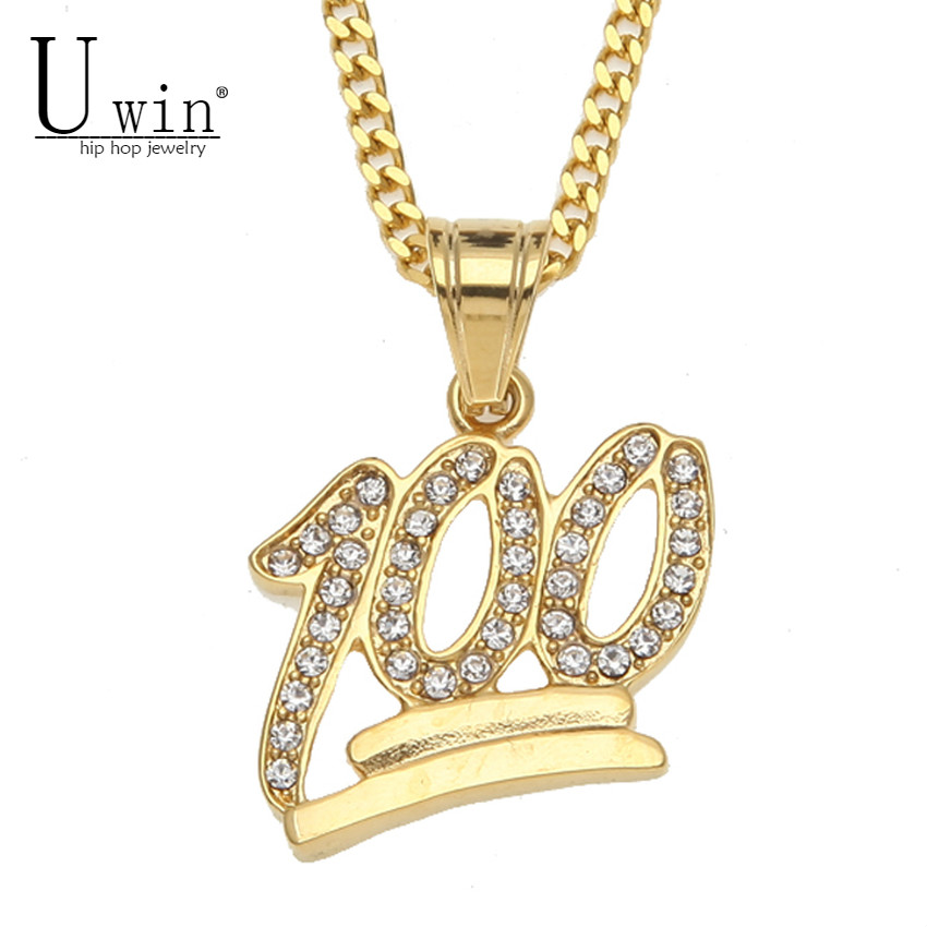 UWIN Golden Emoji 100 Logo Pendant Stainless Steel Iced Out Bling Rhinestone Crystal Men's Hip hop Pendant Necklace Cuban Chain
