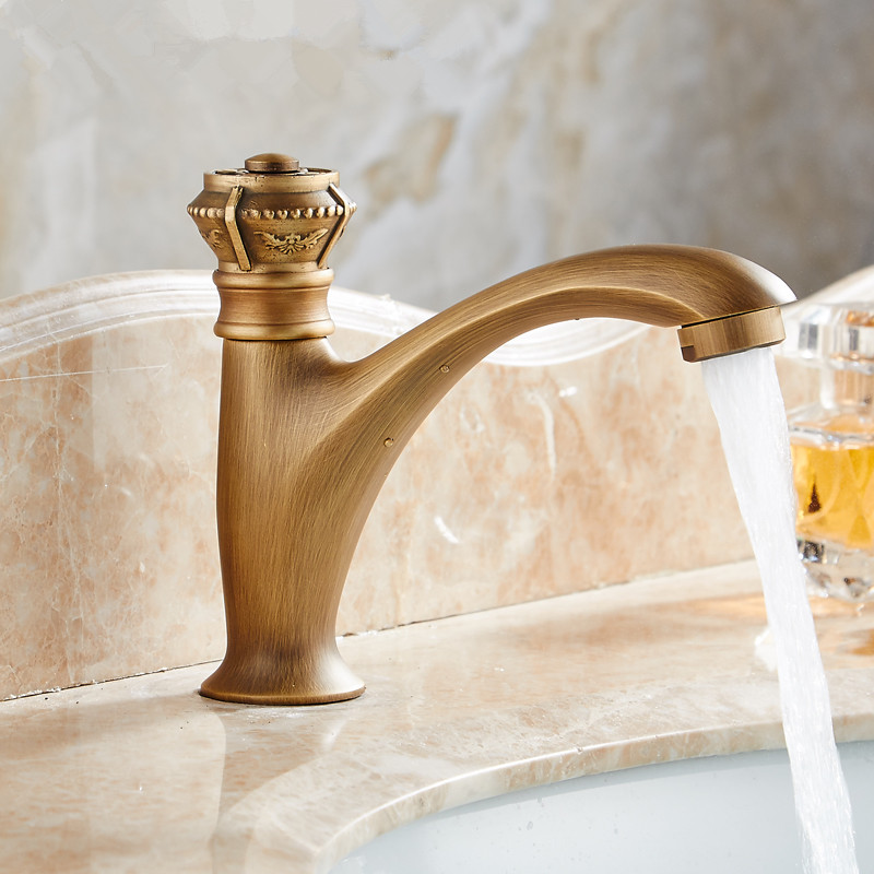 Basin Faucets Antique Color Brass Crane Bathroom Faucets Single Cold Water Mixer Tap Contemporary Mixer Tap Sink Faucet TapBasin Faucets Antique Color Brass Crane Bathroom Faucets Single Cold Water Mixer Tap Contemporary Mixer Tap Sink Faucet Tap