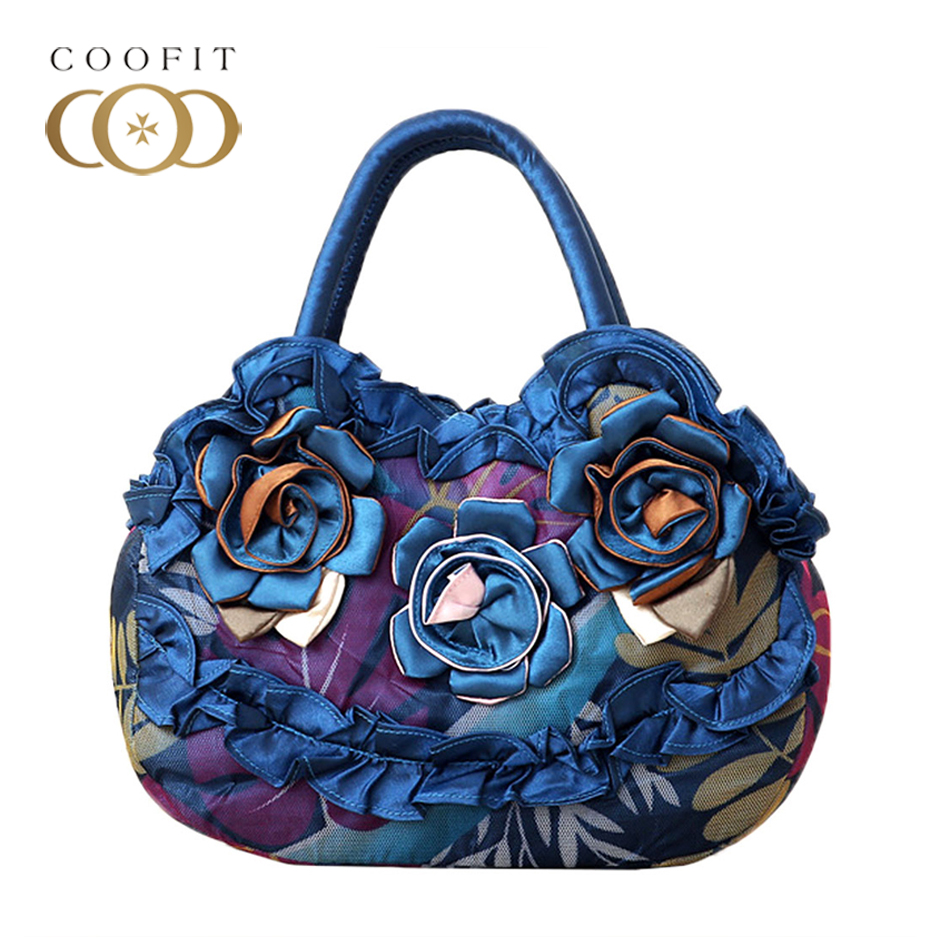 Coofit Embroidery Flower Tote Handbag National Style Canvas Dumplings Package Shoopping Bag For Shopper Feminina Sac A Main
