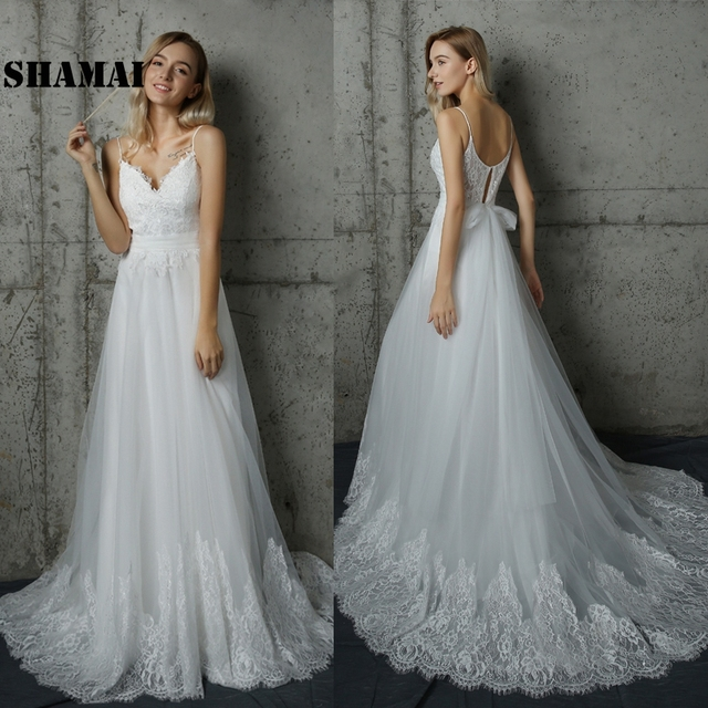 2019 Beach Wedding Dresses Lace Bridal Gowns Tulle Fairy Simple Vestidos De Noiva Custom Make Chic