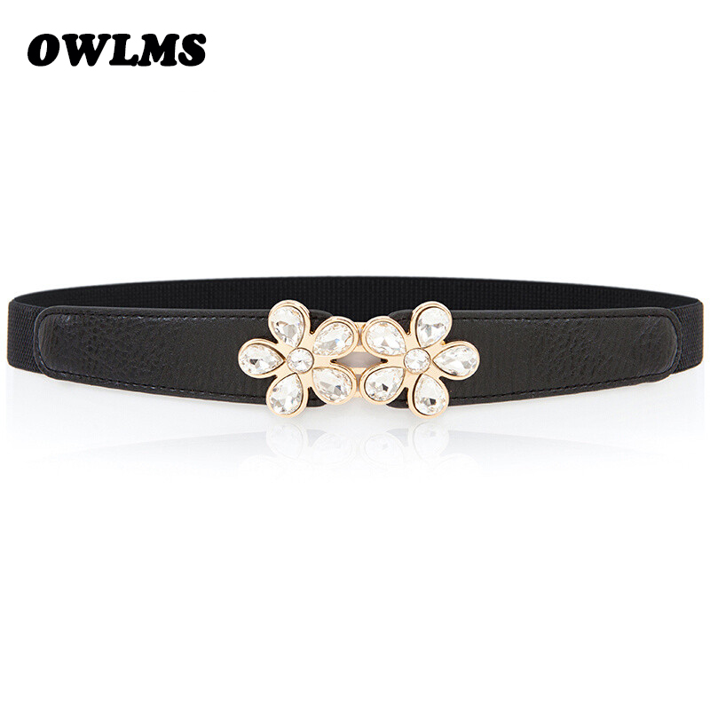 New Rhinestone Belt Crystal Shiny Cummerbunds Gold Flower Crystal Waistband Elastic Women Belts Wedding Dress Waistbands Lady