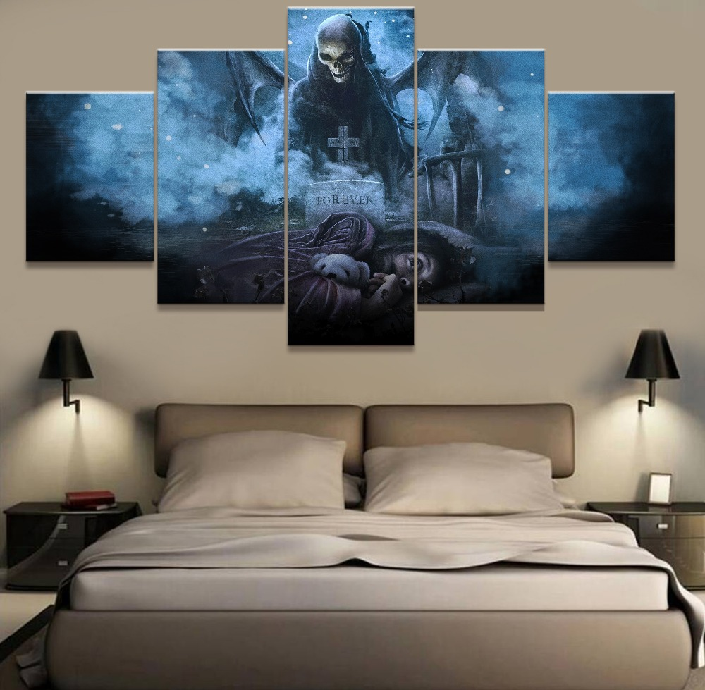 canvas wall art pictures for living room home decor 5 piece avenged sevenfold painting hd. Black Bedroom Furniture Sets. Home Design Ideas